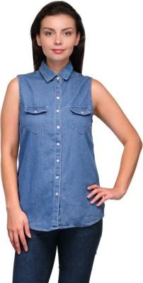 Zachi Women's Solid Casual Denim Blue Shirt