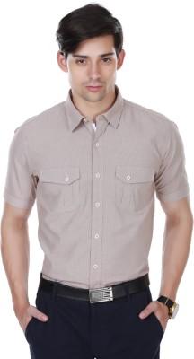 Cotton County Men's Self Design Casual Brown Shirt