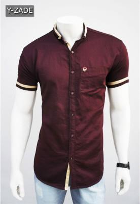 YZADE Men's Solid Casual Brown Shirt