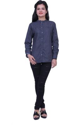 Paris Plush Women's Self Design Casual Denim Blue Shirt