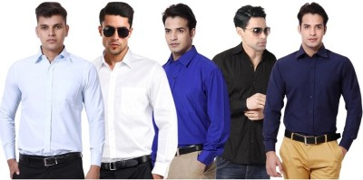 VKG Men's Solid Formal Multicolor Shirt(Pack of 5)