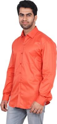 Rollinia Men,s Solid Casual Orange Shirt
