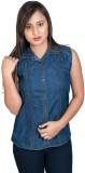FabPoppy Women's Solid Casual Denim Blue...