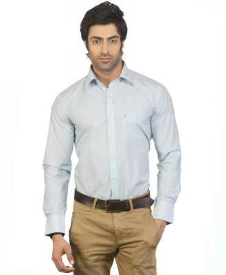 Eden Elliot Men's Solid Formal Blue Shirt