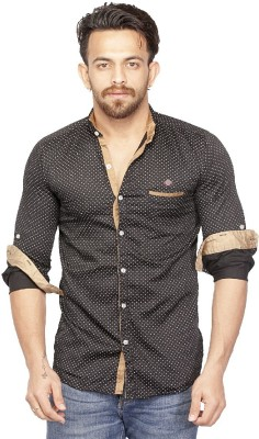 Bombay Casual Jeans Men's Polka Print Casual Black Shirt