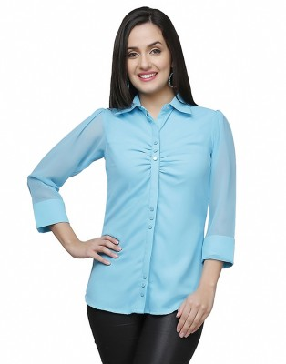 Eavan Women's Solid Casual Blue Shirt
