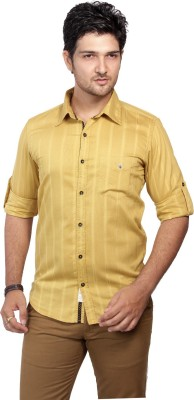 Ecohawk Men's Striped Casual Yellow Shirt