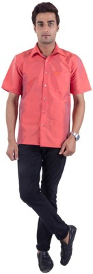 Warrior Men's Solid Casual Orange Shirt