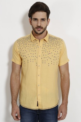 SIN Men's Solid Casual Yellow Shirt