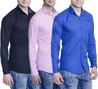Aligatorr Men's Solid Formal Blue, Pink, Black Shirt