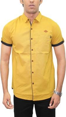 Kuons Avenue Men's Solid Casual Linen Yellow Shirt