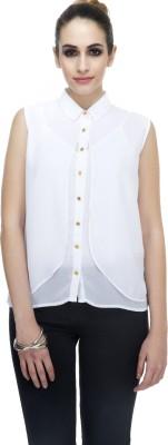 Zaivaa Women's Solid Formal White Shirt