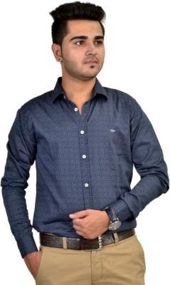 Revine Men's Printed Casual Grey Shirt