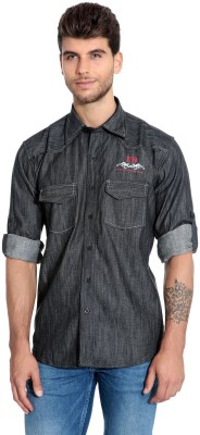 Estycal Men,s Solid Casual Denim Black Shirt