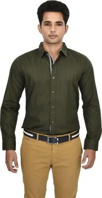 Hackensack Men's Solid Casual Dark Green Shirt