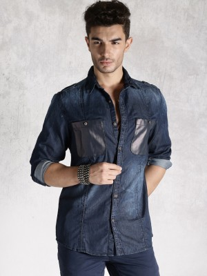 Roadster Men's Solid Casual Blue Shirt