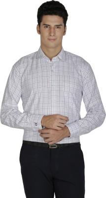 Asher Men's Checkered Formal White Shirt