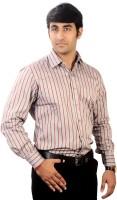 Bl_nk Formal Shirts (Men's) - BL_NK Men's Striped Formal Brown Shirt