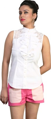 Schwof Women's Solid Party White Shirt at flipkart