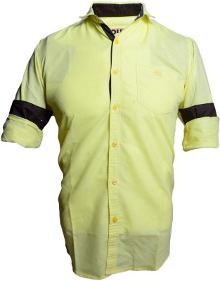 QUBE Men's Solid Casual Yellow Shirt