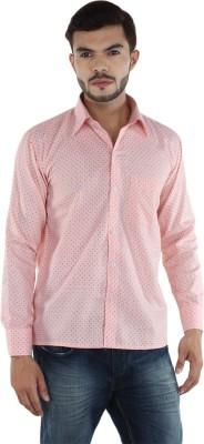 FDS Men,s Polka Print Casual Pink Shirt