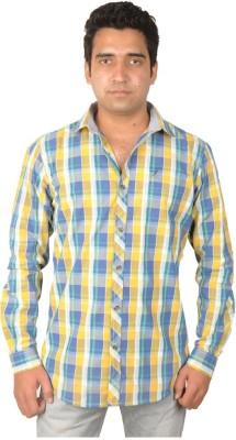 Flying Threadz Men's Checkered Casual Yellow Shirt