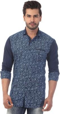 Baaamboos Men's Printed Casual Blue Shirt