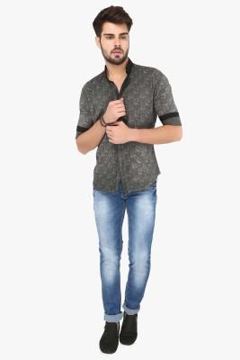 R&C Men's Printed Casual Grey Shirt