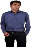 Salvo Men's Checkered Formal Blue Shirt