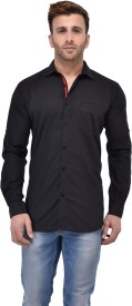Pickurs Men's Solid Casual Black, Red Shirt