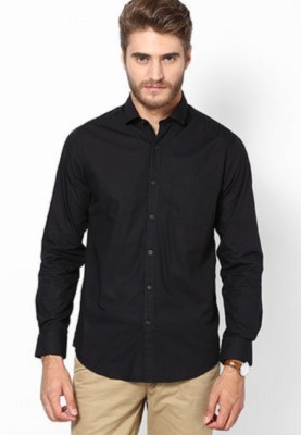 Leecosto Men,s Solid Formal Black Shirt