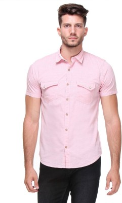 Scapes Men's Solid Casual Pink Shirt