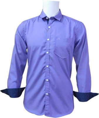 Ardeur Men's Solid Casual Purple Shirt