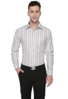Markrich Formal Shirts (Men's) - MARKRICH Men's Striped Formal White, Grey Shirt