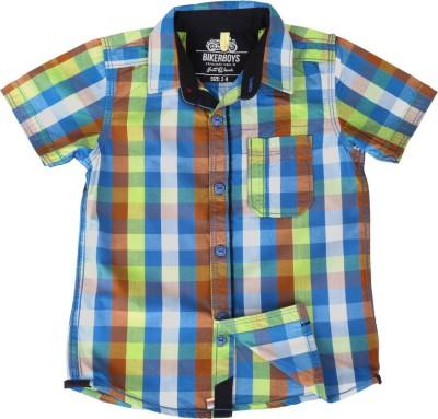 Biker Boys Boy's Checkered Casual Multicolor, Green Shirt