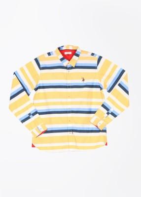 U.S. Polo Assn. Boy's Striped Casual White, Blue, Yellow Shirt