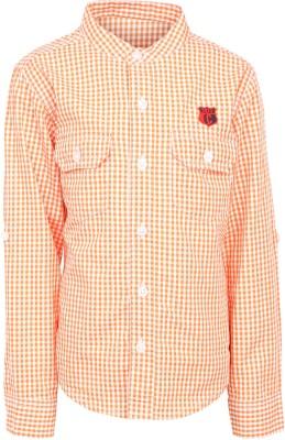 Silver Streak Boy's Checkered Casual Orange Shirt