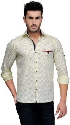 Finder Zone Men's Printed Casual Yellow Shirt