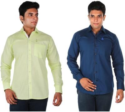Relish Men's Solid Casual Light Green, Dark Blue Shirt