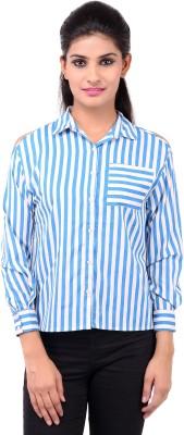 Zachi Women's Striped Casual Blue Shirt