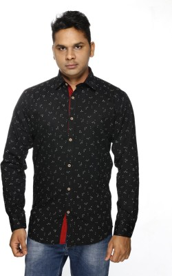 ALBI NYC Men's Printed Casual, Wedding, Festive Black Shirt