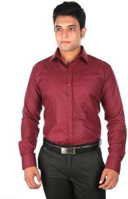Relish Men's Solid Formal Maroon Shirt