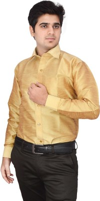 Excellency Men's Solid Formal Yellow, Yellow Shirt