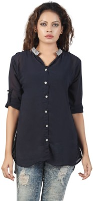 Famglam Women's Solid Casual Blue Shirt
