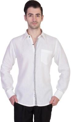 Desam Men's Solid Casual Linen White Shirt