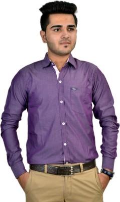 Revine Men's Solid Formal Purple Shirt
