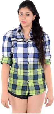 S9 Women's Woven, Checkered Casual Blue, White, Green Shirt