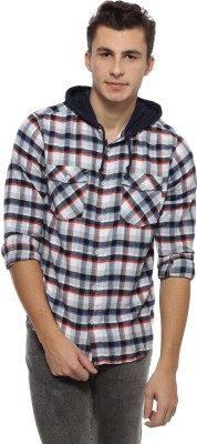 Derby Jeans Community Men's Checkered Casual Grey Shirt