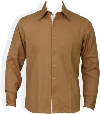 Chhipa Prints Men's Solid Formal Brown Shirt
