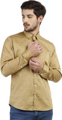 Marcello And Ferri Men's Floral Print Casual Gold Shirt